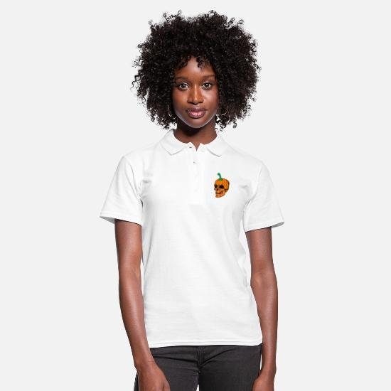 Halloween Polo Shirts - Halloween skull pumpkin - Women's Polo Shirt white