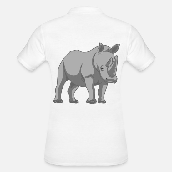 Gift Idea Polo Shirts - Rhino wild animal - Women's Polo Shirt white