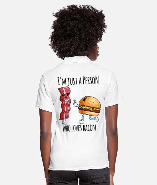 Burger Polo Shirts - Junkfood Shirt - Burger loves bacon - Women's Polo Shirt white