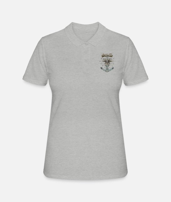 Diver Polo Shirts - Marseille Anchor Nautical Sailing Boat Summer - Women's Polo Shirt heather grey