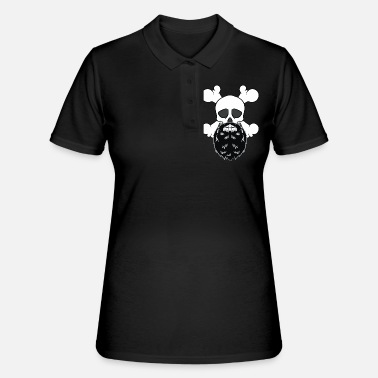 Carneval Bearded Pirate Skull without eye Patch Crossbones - Women's Polo Shirt