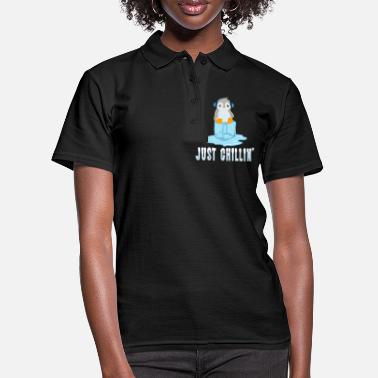 Antartica Cute Penguins A Cute Illustrated Penguin In Gray - Women's Polo Shirt