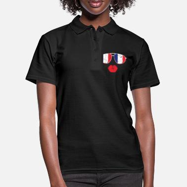Lips Kiss Lips France Flag - Women's Polo Shirt