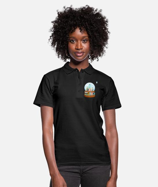 Movie Polo Shirts - New York Broadway Snow Globe Funny Gift - Women's Polo Shirt black