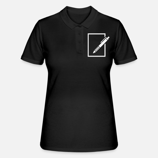 Piece Of Paper Polo Shirts - pen - Women's Polo Shirt black