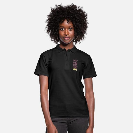 Typography Polo Shirts - Cool Cats Shirt | GIRL AND HER CAT - Women's Polo Shirt black
