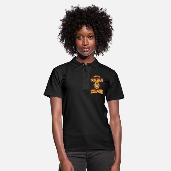 Brass Polo Shirts - Sausaphon old man instrument marching band - Women's Polo Shirt black