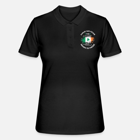 Irlanda Polo - Fighting Irish - Irish Flag Shamrock Beer Tea - Polo donna nero