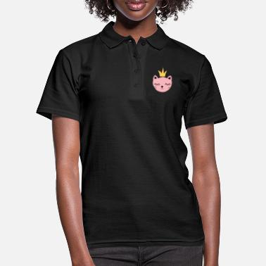 Pink cat with crown - Women's Polo Shirt