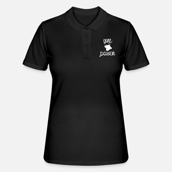 Gift Idea Polo Shirts - Girl power flower woman power - Women's Polo Shirt black