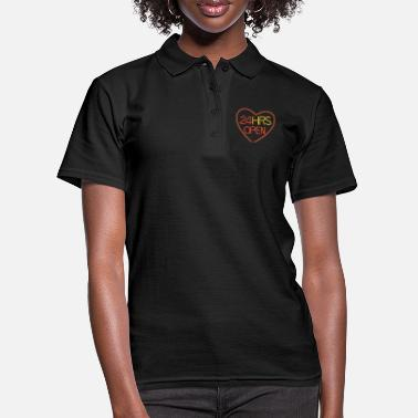 Slogan Neon: 24 HRS open heart - Frauen Poloshirt