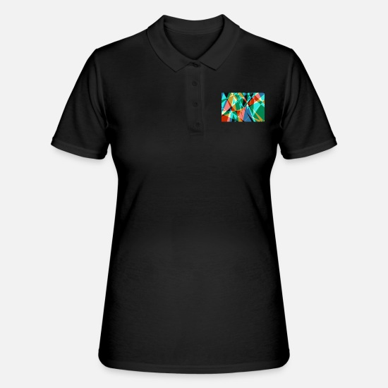 Canvas Polo Shirts - Colorful poster with triangles - Women's Polo Shirt black
