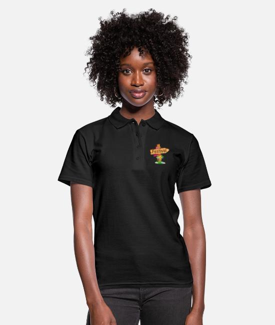 Comic Style Polo Shirts - colorfully decorated wooden signpost to the festival - Women's Polo Shirt black