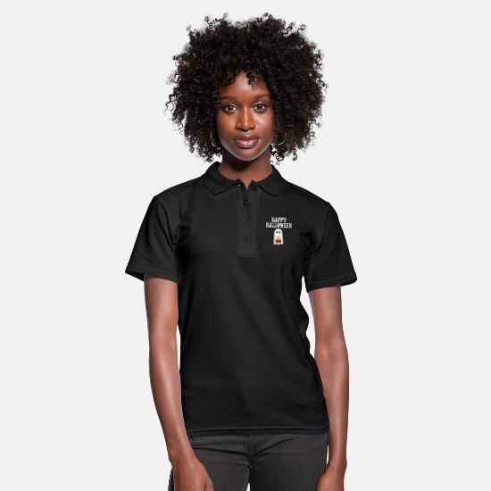 Birthday Polo Shirts - Happy halloween ghost pumpkin lantern funny scary - Women's Polo Shirt black