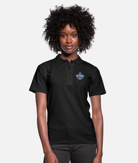 East Frisia Polo Shirts - Plattsnacker | Low German, North German, anchor - Women's Polo Shirt black
