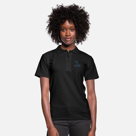 Dolphin Polo Shirts - Dolphin in the sea minimalist design gift - Women's Polo Shirt black