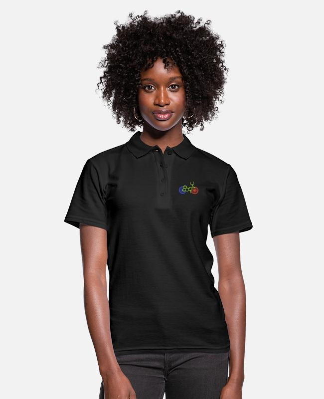 Trippy Polo Shirts - LSD Bicycle Day A. Hofmann structural formula molecule - Women's Polo Shirt black
