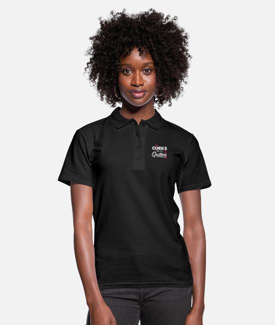 Cork Polo Shirts - Corks Are For Quitters Wine Corks Alcohol Drinking - Women's Polo Shirt black