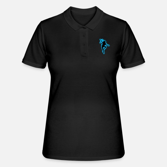 Dancing Polo Shirts - Silhouette dancing light blue and black outline - Women's Polo Shirt black