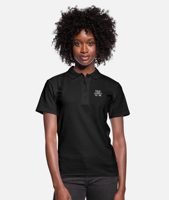 Coder Polo Shirts - Talk Code To Me Programmer Computer Scientist Nerd - Women's Polo Shirt black