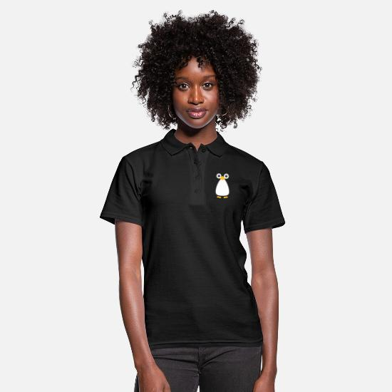 Christmas Polo Shirts - Cute Vector Penguin - Women's Polo Shirt black