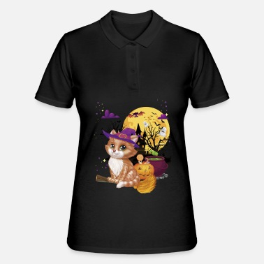 Halloween Meow Cat Witch Broom Pumpkin Mom Dad - Women's Polo Shirt