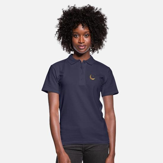 Starry Sky Polo Shirts - Starry sky - Stars and Moon - Women's Polo Shirt navy