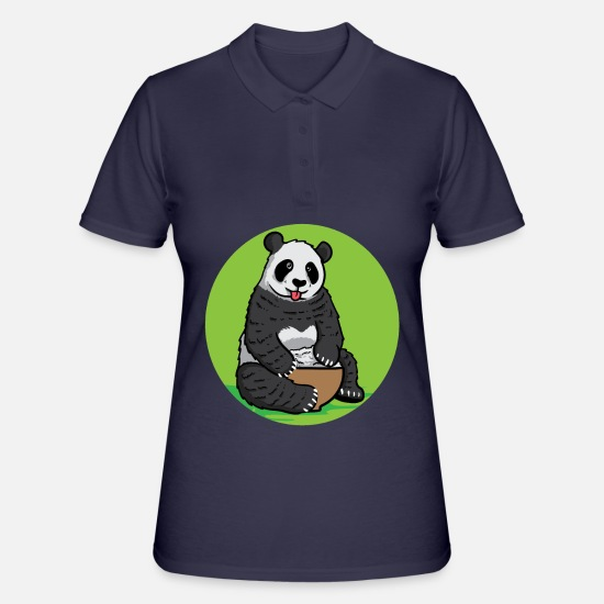 Birthday Polo Shirts - Panda Panda Bear Big Funny Sweet Rice - Women's Polo Shirt navy