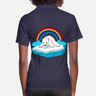 Ecological Polar Bear Arctic Rainbow Climate Change Children Baby - Women's Polo Shirt