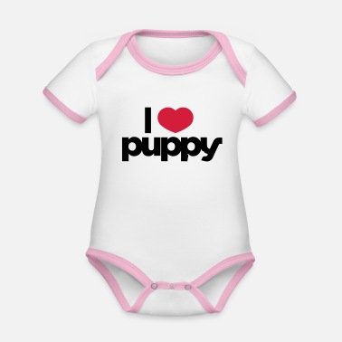 I Love Puppies I love puppy - Organic Contrast Baby Bodysuit