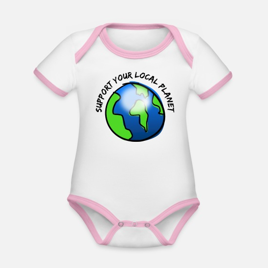 Enviromental Baby Clothes - Support your local planet - Organic Contrast Baby Bodysuit white/rose
