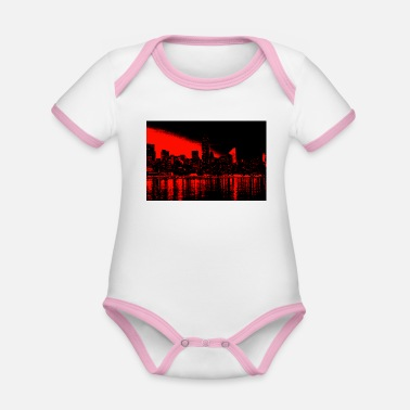 new york black red - Organic Contrast Baby Bodysuit