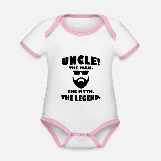 Uncle Baby Clothes - Uncle Legend Best Uncle Gift - Organic Contrast Baby Bodysuit white/rose