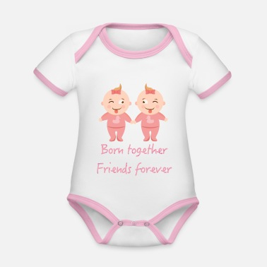 Together Twins, twin sisters, twin sisters - Organic Contrast Baby Bodysuit