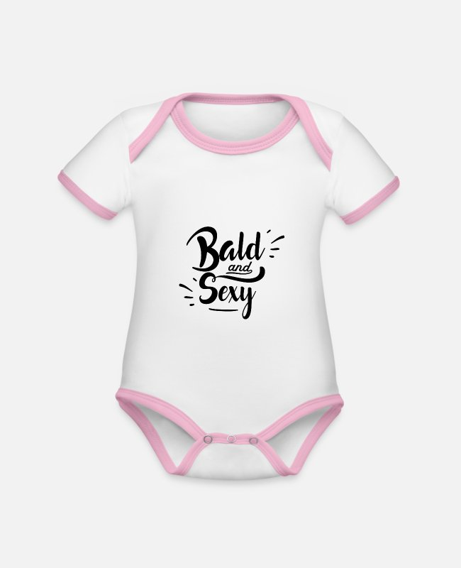 Husband Baby Bodysuits - Bald and sexy - Organic Contrast Baby Bodysuit white/rose