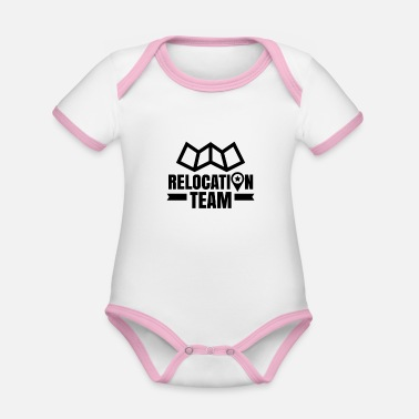 Move Moving team moving company moving moving - Organic Contrast Baby Bodysuit
