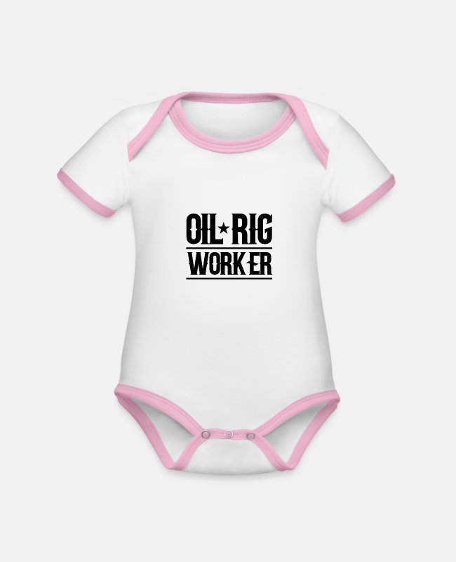 Ghastly Baby Bodysuits - Oil rig worker offshore drilling platform profession - Organic Contrast Baby Bodysuit white/rose