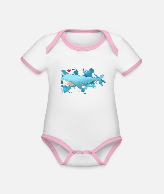 Harbour Baby Clothes - Blue whale in the sea / color speckled fish Ahoy heart - Organic Contrast Baby Bodysuit white/rose