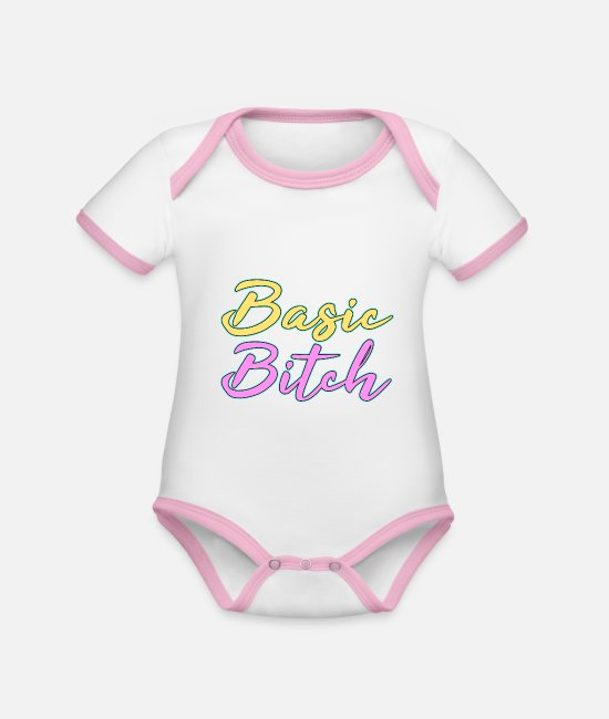 Bitch Baby Bodysuits - Cute and simple eyecatching tee design made for - Organic Contrast Baby Bodysuit white/rose