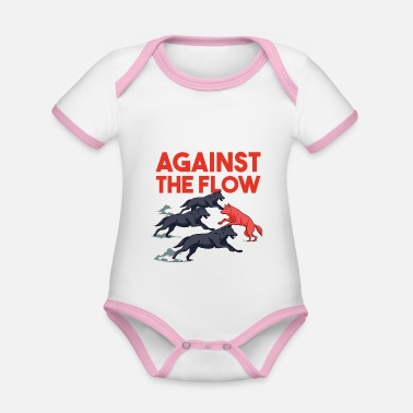 Against The Flow Against the Flow - Red Wolf - Organic Contrast Baby Bodysuit