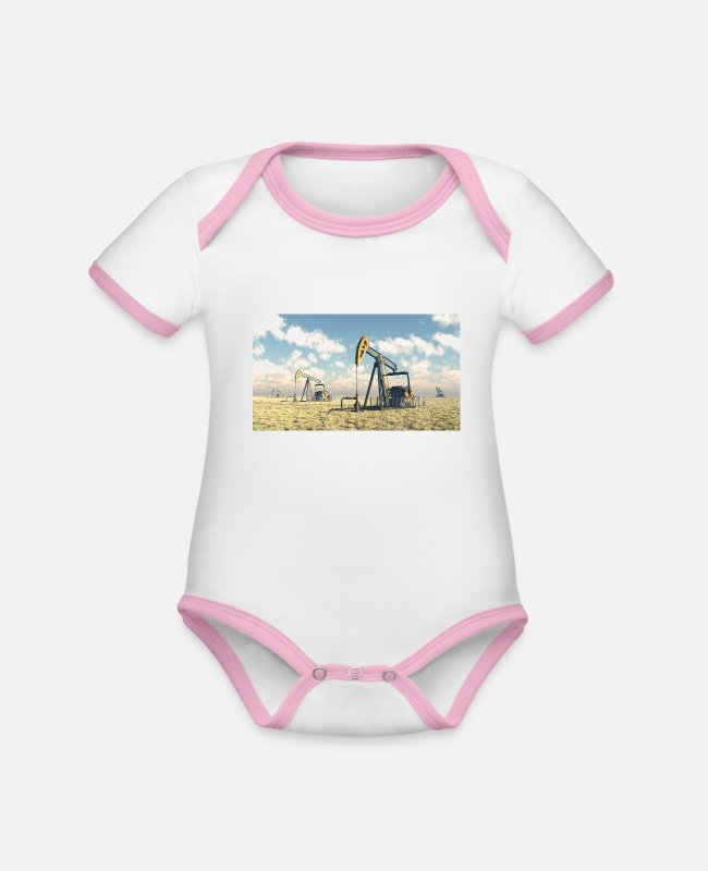 Industry Baby Bodysuits - Oil pumps, oil production, oil production, oil - Organic Contrast Baby Bodysuit white/rose