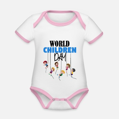 Childrens Day World Children Day - Organic Contrast Baby Bodysuit
