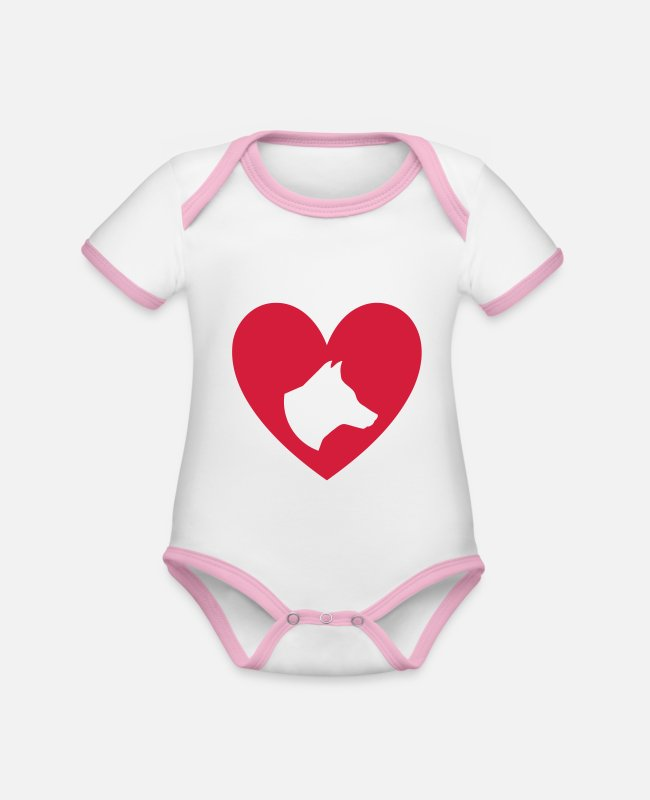 Heart Baby Bodysuits - ★ design colors changeable ★ dog head in the heart - Organic Contrast Baby Bodysuit white/rose