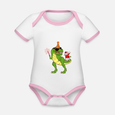 Festival Dinosaur Year Of The Rat Happy New Year 2020 - Organic Contrast Baby Bodysuit