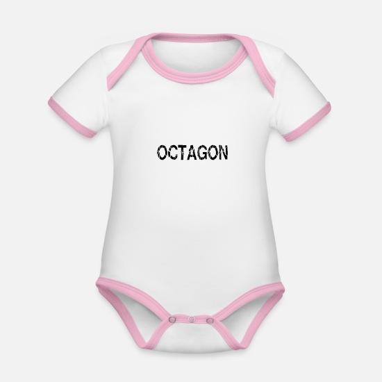 Mma Baby Clothes - Octagon MMA martial arts idea - Organic Contrast Baby Bodysuit white/rose