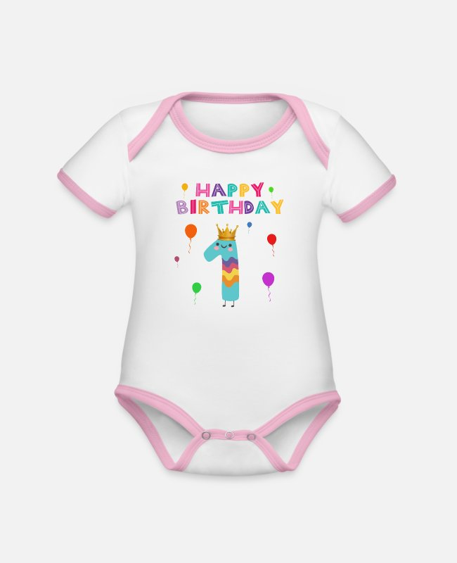 1 Baby Bodysuits - happy Birthday - Organic Contrast Baby Bodysuit white/rose