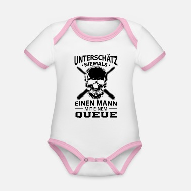 Queue Billard Queue - Baby Bio Kurzarmbody zweifarbig