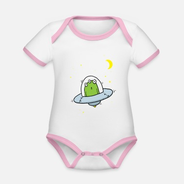 Flying Visit Alien With Stars - Organic Contrast Baby Bodysuit