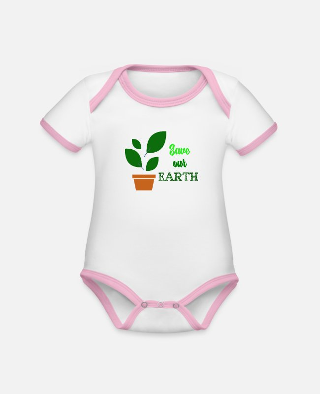 Nature Baby Bodysuits - Earth Day - Organic Contrast Baby Bodysuit white/rose