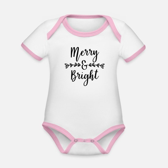 Girlfriend Baby Clothes - Merry And Bright - Organic Contrast Baby Bodysuit white/rose